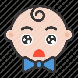 baby, emoji, emoticon, expression, shocked icon