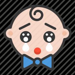 baby, cry, emoji, emoticon, expression, impressed icon