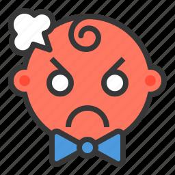 angry, baby, emoji, emoticon, expression icon