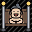 baby, bedroom, crib, nighttime, sleep icon