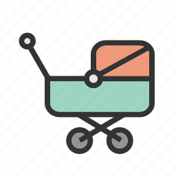 baby, family, happy, mother, pram, sleep, stroller icon
