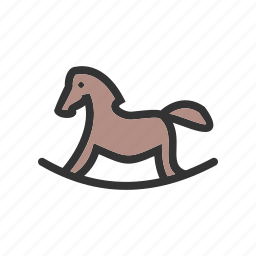 childhood, fun, horse, play, ride, toy, wooden icon