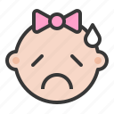 baby, emoji, emoticon, expression, sad, worried icon