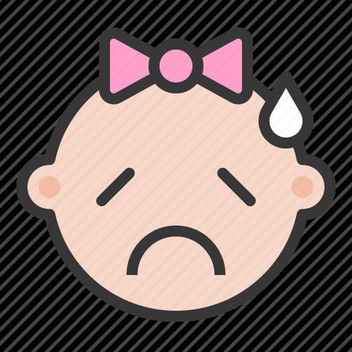 baby, emoji, emoticon, expression, sad, worried icon