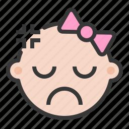 angry, annoyed, baby, emoji, emoticon, expression icon