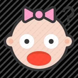 baby, confused, emoji, emoticon, expression, shocked icon