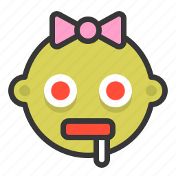 baby, emoji, emoticon, expression, hungry, zombie icon