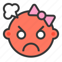angry, baby, emoji, emoticon, expression icon