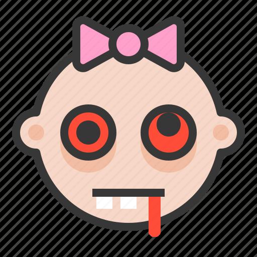 baby, emoji, emoticon, expression, hurted, zombie icon