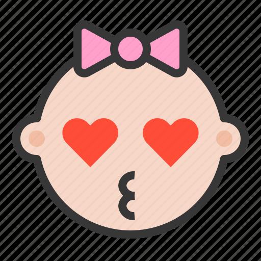 baby, emoji, emoticon, expression, kiss, kissed, loved icon