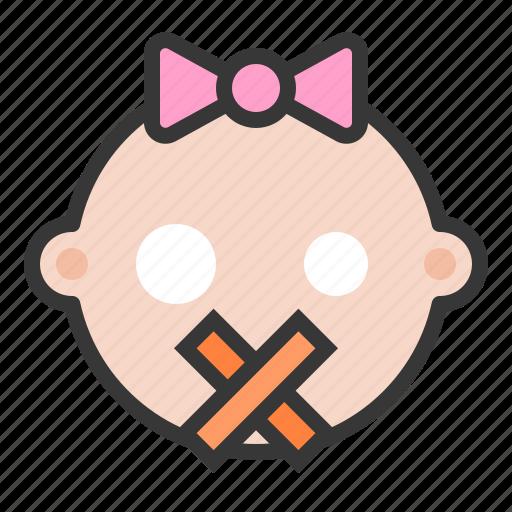 baby, emoji, emoticon, expression, quiet, silence icon