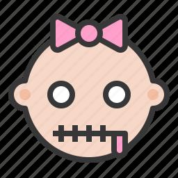 baby, emoji, emoticon, expression, silence, zipper mouth icon