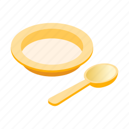 baby, eat, isometric, object, plate, set, spoon icon