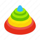 baby, circle, fun, isometric, pyramid, tower, toy icon
