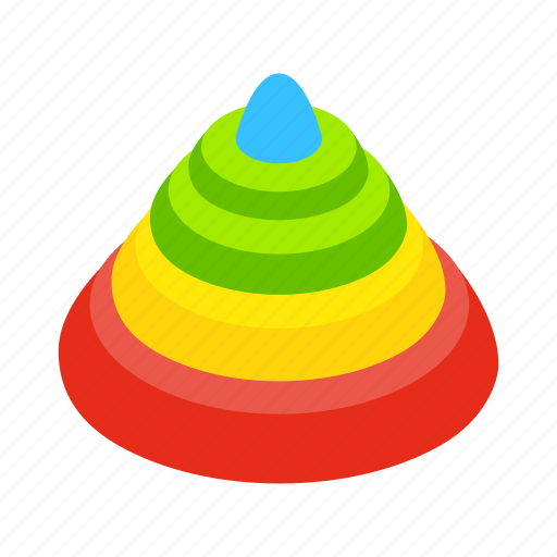 Baby, circle, fun, isometric, pyramid, tower, toy icon - Download on Iconfinder