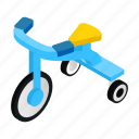 bike, boy, game, isometric, kid, toy, tricycles icon