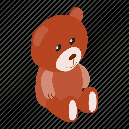 Cute, isometric, toy, teddy, bear, baby, small icon