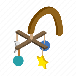 baby, bedtime, cute, decoration, hanging, isometric, mobility icon