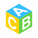 abc, alphabet, block, cube, isometric, school, toy