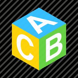 abc, alphabet, block, cube, isometric, school, toy icon