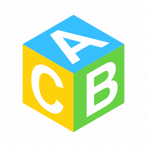 abc, alphabet, block, cube, isometric, school, toy icon