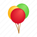 balloons, bubbles, decoration, fly, image, isometric, shape icon