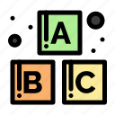 alphabet, baby, blocks icon