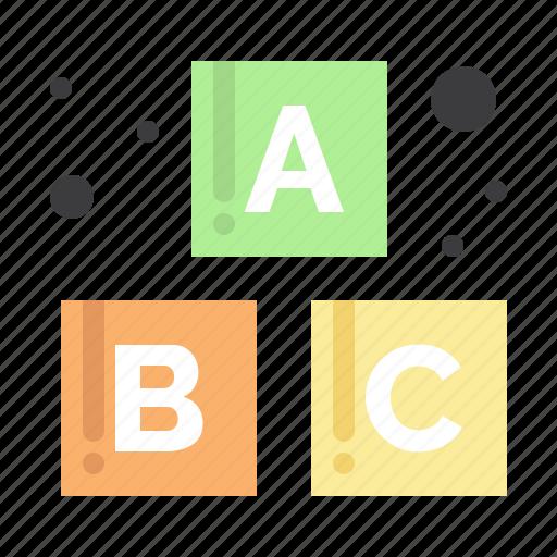 alphabet, baby, blocks icon