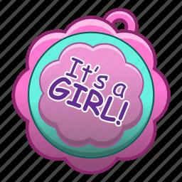 baby, cartoon, girl, shower icon
