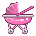 baby, cartoon, girl, shower icon
