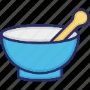 medicine bowl, mortar, pestle, pharmacist icon