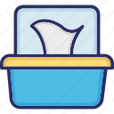 cleaning paper, napkins, natted material, tissue box icon