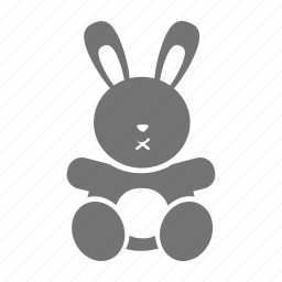 baby, doll, girl, infant, kid, rabbit, toy icon
