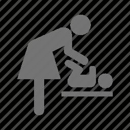 baby, care, change, diaper, mom, napkin, nappy icon