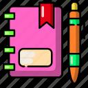 notebook, book, pen, study, bookmark