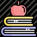 study, books, apple, education