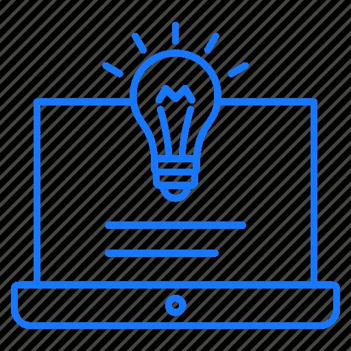 bulb, education, laptop, studies icon
