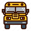 bus, front, school, transportation icon