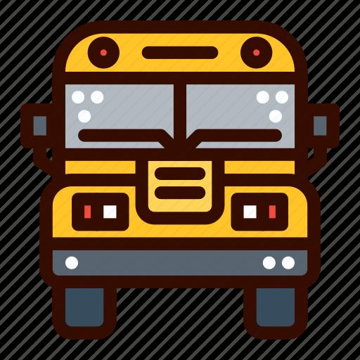 bus, front, school, transportation icon