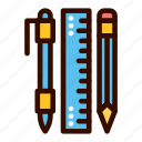 pen, pencil, ruler, school, stationery icon