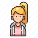 backpack, bag, female, girl, person, student, woman icon