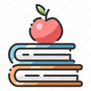 apple, book, education, intelligence, knowledge, think, wisdom icon