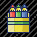 pencil, pen, colored