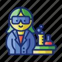 laboratory, teacher, female
