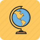 back to school, geography, globe, study icon