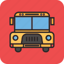 back to school, education, school bus, transport icon