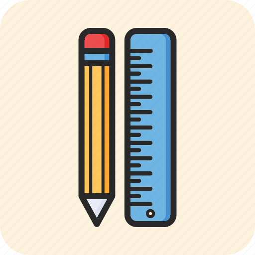 back to school, office, pencil, ruler icon