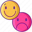 mixed, face, emotions icon