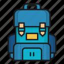 bag, bagpack, college, cshool, study icon