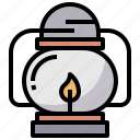 camping, candle, fire, lamp, lantern, light, oil icon